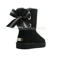 Угги UGG Bailey Bow Customizable - Seashell Black (Черные)