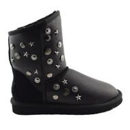 UGG & Jimmy Choo Starlit Metallic Black Угги Джимми Чу Старлит Черные Обливные