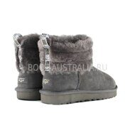 Угги Мини UGG Mini Fluff Quilted Boot Grey Серые