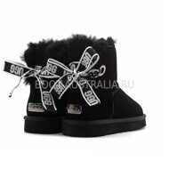 Угги мини UGG Mini Bailey Bow Customizable - Seashell Black (Черные)