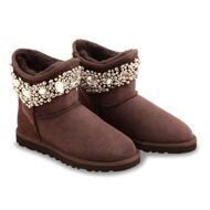 UGG & Jimmy Choo Crystals Chocolate Шоколадные угги-мини с бусинками и кристаллами