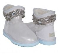 Угги-мини с бусинками и кристаллами белые UGG & Jimmy Choo Crystals I Do