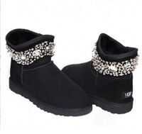 UGG & Jimmy Choo Crystals Black Черные угги-мини с бусинками и кристаллами
