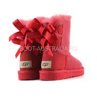 Детские угги UGG Kids Bailey Bow Toddler Metallic Red Красные