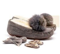Мокасины UGG Moccasins Dakota New Pom Grey Серые