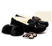 Мокасины UGG Moccasins Dakota New Pom Black черные